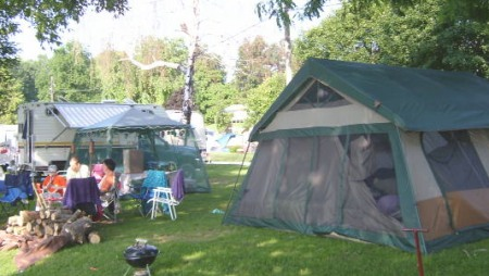 Tenting at McLear's Cottage Colony and Campground, Black Lake, New York